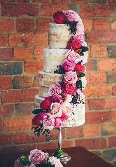Rose Cascade Naked Wedding Cake | Made From Scratch | See More! http://heyweddinglady.com/rich-wild-summer-berry-wedding-inspiration/