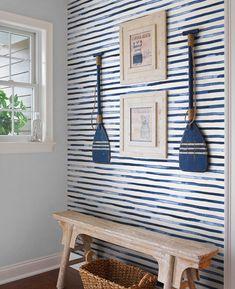 Watercolor Stripes Blue Peel & Stick Fabric Wallpaper Repositionable