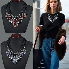 New women fashion jewelry European and American retro braided rope necklace Crystal necklace Europe and exaggerated Necklace