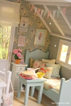 The blue furniture reminds me of Mom's doll furniture from the Miniature Rooms, Miniature Houses, Miniature Furniture, Doll Furniture, Dollhouse Furniture, Playhouse Interior, Playhouse Decor, Bird Bedroom, Dream Bedroom