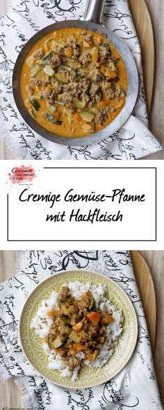 Cremige Gemüse-Pfanne mit Hackfleisch | Rezept | Kochen | Essen