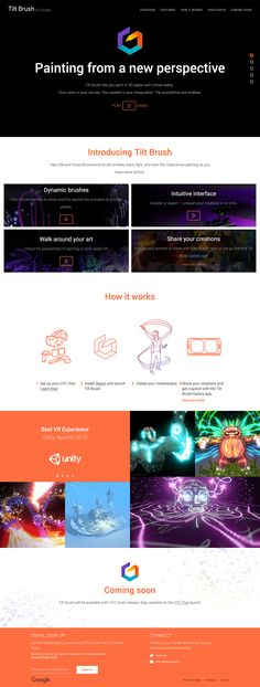 Tilt Brush lets you paint in space with virtual reality. Ecommerce Website Design, Homepage Design, Artificial Intelligence Technology, Web Design, Augmented Reality, Virtual Reality, Landing Page Design, Web Layout