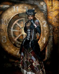 fantasy Gothic Girls Time To Spare Steampunk Prints and posters Steampunk Cosplay, Steampunk Clothing, Steampunk Fashion, Steampunk Design, Victorian Steampunk, Death Metal, Cyberpunk, Rockabilly, Grunge