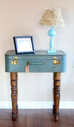 vintage suitcase table .... use for wedding cards & then use in the house for a side table or entry table!