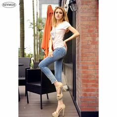 18.27$  Watch here - http://alicfa.shopchina.info/1/go.php?t=32795842986 - SZYMGS HOT Fashion Jeans For Women Hole Skinny Jeans Woman Ripped Denim Pencil Embroidery Pants Stretch Distressed Jeans  #aliexpress