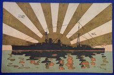 1930's Japanese Navy Postcard : Warship & Rising Sun Flag Art - Japan War Art