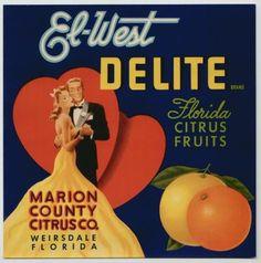 Vintage Original HEARTS DELITE CITRUS FRUIT Crate Box Label Measures in inches x full color box label. Marion County Citrus Co. Valentine Love, Valentines Gift Box, Vintage Florida, Old Florida, Florida Travel, Vintage Labels, Vintage Ads, Retro Ads, Vintage Travel