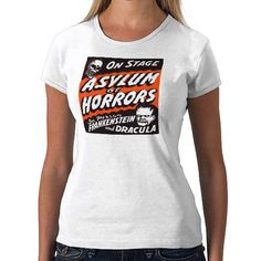Halloween Retro Vintage Monsters Asylum of Horrors Shirt