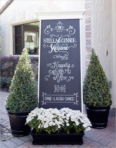 Chalkboard greeting sign