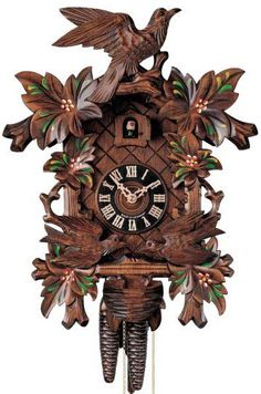 "Hones 12.5"" 1 Day 400/3F Carved Cuckoo Clocks –  Stunning red and green hand painted flowers as well as two animated birds on the bottom! They move to feed the birds in the nest every time the cuckoo calls. It is a beautiful heartwarming scene that brings the beauty of the Black Forest to your home! Comes with the Black Forest Seal."