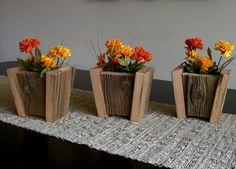 Rustic Barn Wood Flower Pots