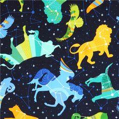 dark blue star constellation zodiac fabric Night Sky Robert Kaufman USA 2