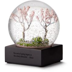 Big Trike Inc. Cherry Blossom Snow Globe (180 SAR) ❤ liked on Polyvore featuring home, home decor, cherry blossom home decor, outdoor home decor, mini snow globes, pink home decor and spring home decor