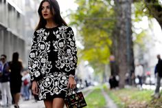 Negin Mirsalehi on Viale Piave, after Dolce & Gabbana ready to wear Spring Summer 2016.