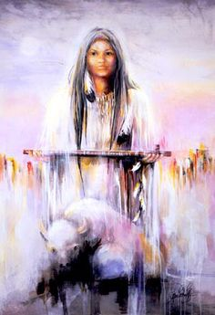 Goddess Series White Buffalo Calf Woman The legend of White Buffalo Calf Woman is around 2000 years old. The reason she is thought of as a Goddess is because her message is central to the spiritual. Native American Symbols, Native American Women, Native American History, Native American Indians, Animal Reiki, Traditional Stories, Fourth World, American Gods, American Bison