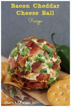 Bacon Cheddar Cheeseball Recipe SO GOOD!  #Bacon
