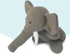 Knitted Elephant Children's Toy (Free Pattern).