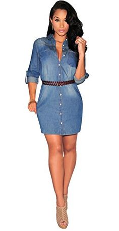 57f7f3cbc19 Halife Fashion Sexy Women Half Sleeve Casual Denim Party Mini Dress with  Belt    Learn more