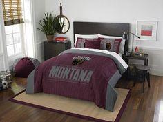 Montana Grizzlies Modern Take Full Comforter Set. Includes Full-Queen Comforter and 2 Shams. Visit SportsFansPlus.com for Details.