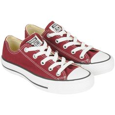 CONVERSE Womens Red Chuck Taylor All Star Oxford Shoes ($32) ❤ liked on Polyvore featuring shoes, sneakers, converse, chaussures, balmoral shoes, converse oxford, brogue oxford, color block shoes and oxford shoes
