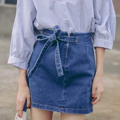 New Arrivals Spring Summer Jeans Skirts Women Fashion Solid Bow Zippers A-line Mini Slim Fit Package Hip Denim Skirts