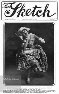Front cover of The Sketch magazine featuring French actress and music hall artiste, Gaby Deslys, in the role of Lady Lil in the J. M. Barrie burlesque, 'Rosy Rapture,' which was a popular show in 1915. Unusually for Ms Deslys she appears, 'at various times unfeathered and unpearled, which to say the least, is unusual, ' an allusion to her fame for lavish stage costumes.