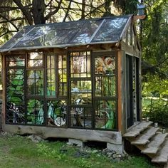 Window greenhouse welcome to the cabin friends fun she shed conversion ideas Old Window Greenhouse, Backyard Greenhouse, Small Greenhouse, Greenhouse Plans, Portable Greenhouse, Greenhouse Wedding, Pallet Greenhouse, Dream Garden, Home And Garden