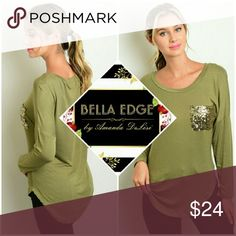 🆕 Olive green sequin pocket long sleeve tee 60% COTTON, 40% RAYON. This fall-trendy tee features long sleeves, jersey style relaxed fit, and sequin pocket on chest. Sizes small to large. Bella Edge Boutique Tops Tees - Long Sleeve