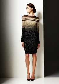 Look 20 Dress Gold Black Ombre Signature Sequin Long Sleeve High Fashion