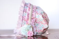 Baby Bonnet - Ivory and Pink Newborn Photo Prop - Vintage Inspired Prop - Calico Baby Hat - Newborn Bonnet by LittleLadyAccessory on Etsy