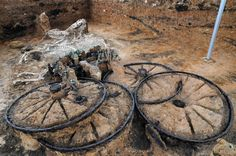 A 2000 year old Thracian chariot found buried in Bulgaria along with the horses that pulled it. Stunning discovery!