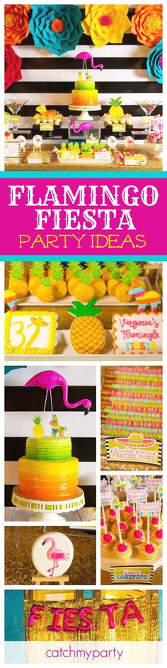 Get ready for Fiesta with this awesome Mexican inspired Flamingo Birthday! The desserts are gorgeous! See more party ideas and share yours at CatchMyParty.com