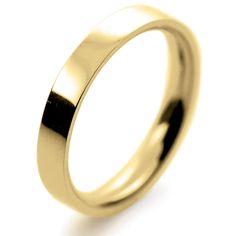 18ct Yellow Gold Wedding Ring Flat Court Medium - 3mm
