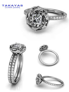 14k white gold or platinum Custom dolphin wedding set by Takayas Custom Jewelry..Ideas for my 25th wedding anniversary. Love this!!
