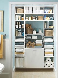No-Fuss Bathroom Organizing  Something like this in hall coat closet. To store emergency stash/ Cheaper to build yourself?