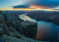 Sunrise at Preikestolen - After spending the night up on Preikestolen this is the view that I awoke to. Not bad!  :-)