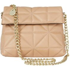 1746c7039b7 Karen Millen Quilted Chain Mini Bag, Nude (€150) found on Polyvore  featuring women's fashion, bags, handbags, hand bags, beige leather handbag,  leather hand ...