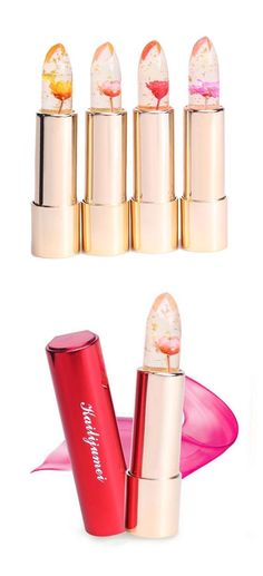 These tubes of lipstick each have a flower embedded within their glossy balms.