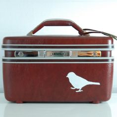 Vintage Upcycled Maroon Samsonite TRAIN CASE with by bluebernice, $66.00
