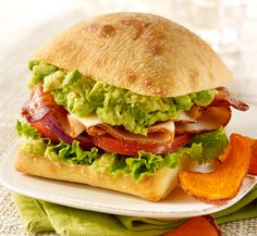 Recipe: Toasted Ciabatta Sandwich with Wholly Guacamole Gourmet Sandwiches, Turkey Sandwiches, Wrap Sandwiches, Ciabatta, Wholly Guacamole, Vegetarian Recipes, Cooking Recipes, Sandwich Ingredients, Fodmap Recipes