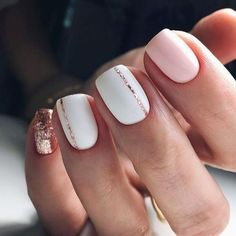 Pink And Rose Gold Glitter Nails. Pink And White Nails. Pink And Rose Gold Glitter Nails. Pink And White Nails. Cute Spring Nails, Spring Nail Art, Nail Designs Spring, Acrylic Spring Nails, White Summer Nails, Pink White Nails, White Nails With Gold, White Manicure, White Nail Designs
