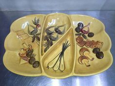 Vintage Los Angeles Pottery Large Divided Serving Dish  Dated