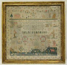 Antique 1804 Pictoral Sampler Esther White Age 10 Verse Framed 23.75 x 23in