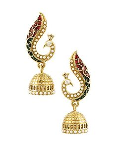 Voylla-Peacock-Red-Gold-Plated-Jhumki-Earrings-For-Women-0-0