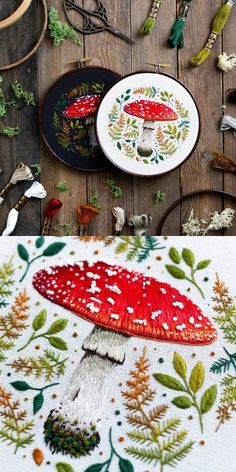 Embroidery Hoop Art and Patterns Emillie Ferris on Etsy Diy Embroidery Patterns, Embroidery Art, Cross Stitch Embroidery, Embroidery Techniques, Sewing Crafts, Needlework, Creations, Crafty, Crochet