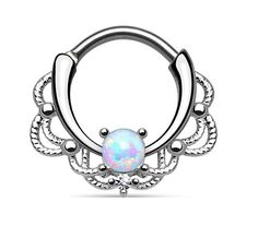 New Surgical Steel Pretty Lacey Ornate Septum Clicker Nose Daith Ring with synthetic White Rainbow Opal Stone 16g