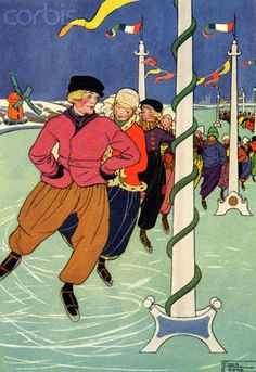 12-11-11  Skating Slowly the Boys and Girls Move Forward by Edna Cooke Shoemaker  An illustration of Dutch children skating in a long line on a frozen river wearing traditional Dutch costume.