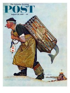 Norman Rockwell illustration of a man carrying a mermaid in a lobster trap. For this 1955 cover illustration Rockwell skipped his usual practice of asking locals to pose for him. Instead he went to New York and hired a professional model. Peintures Norman Rockwell, Norman Rockwell Art, Norman Rockwell Paintings, Painting Prints, Canvas Prints, Art Prints, Canvas Art, Canvas Size, Oil Paintings