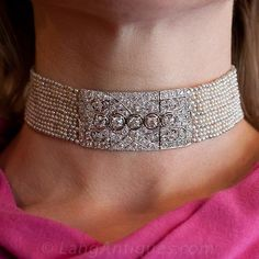 Art Deco Diamond and Seed Pearl Choker
