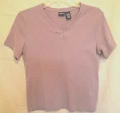 Basic Editions Lt. Purple Top Size Med. V Neck Lace Trim 2 Button Short Sleeves